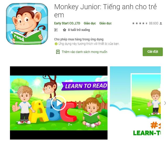 cài đặt phần mềm monkey junior trên điện thoại